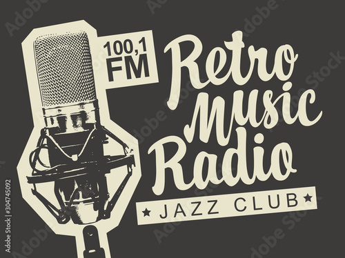 Vector banner for radio station with studio microphone and inscription Retro music radio Canvas Print