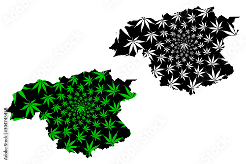 Photo Bolivar State (Bolivarian Republic of Venezuela, Federal Dependencies and Capital District) map is designed cannabis leaf green and black, Bolivar map made of marijuana (marihuana,THC) foliage