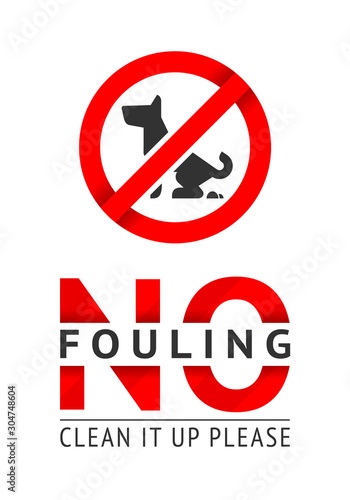 Fotografía  No dog fouling sign, modern trendy sticker for city