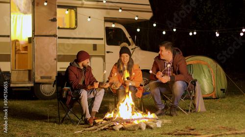Obraz Group of happy friends around burning camping fire - fototapety do salonu