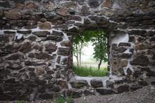 Stone House Background. Abando...