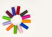 Multi-colored Threads In Spool...