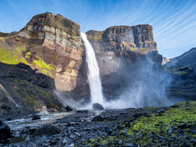 View Of The Landscape Of The Haifoss Waterfall In Iceland.  Nature And Adventure Concept Background.