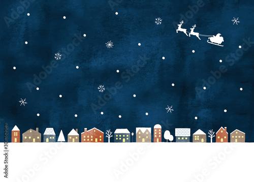 Pinturas sobre lienzo  雪の街水彩夜