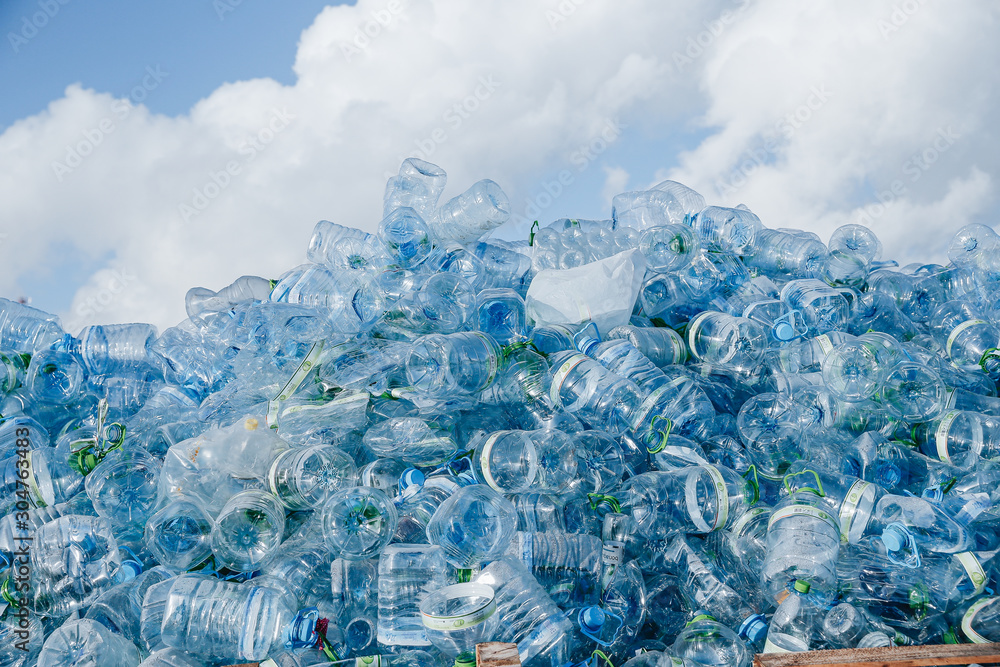 Fototapeta Industrial Village / T Jetty Area - Male', Maldives - July 30, 2017 - Dumped Plastic Bottles