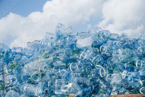 Fototapeta Industrial Village / T Jetty Area - Male', Maldives - July 30, 2017 - Dumped Plastic Bottles obraz