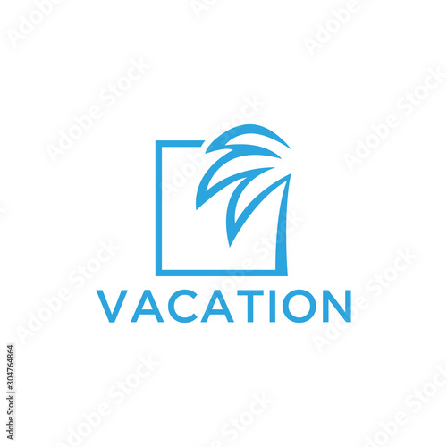 Vacation logo design template. Green palm inn seaside. The concept for travel agency, tropical resort, beach hotel, spa. Summer vacation symbol. Wall mural