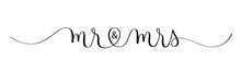MR & MRS Black Vector Brush Calligraphy Banner With Swashes