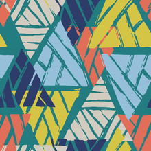 Vector Geometric Tribal Triangle Seamless Pattern. 80s And 90s Style Hand Drawn Background. Colorful Design For Fabric And Wrapping Paper.