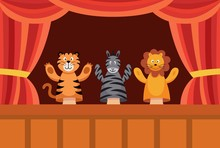 Hand Puppet Show Poster With Cute Cartoon Toy Animals Performing A Play.