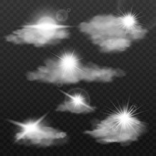 Sun Rays Through Clouds Effect Set Of Realistic Vector Illustrations Isolated.