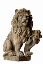 Isolated Stone Lion On White