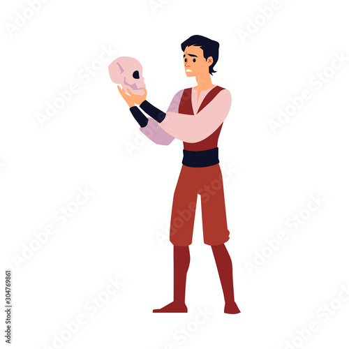 Photo Cartoon actor holding skull and performing monologue