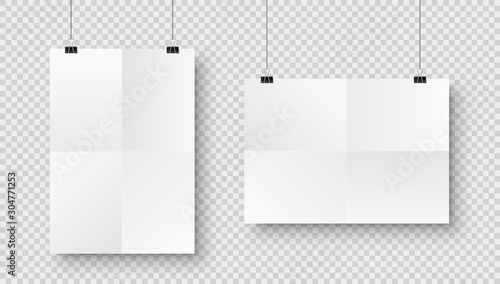 Valokuva Realistic hanging blank paper sheet with shadow in A4 format and black paper clip, binder on checkered background