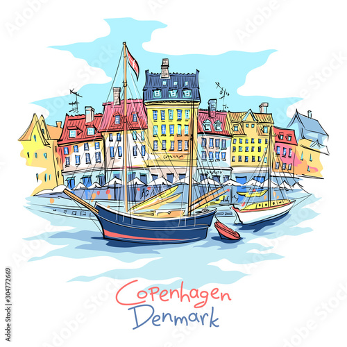 Vector sketch of Nyhavn with colorful facades of old houses and old ships in the Old Town of Copenhagen, capital of Denmark Canvas Print