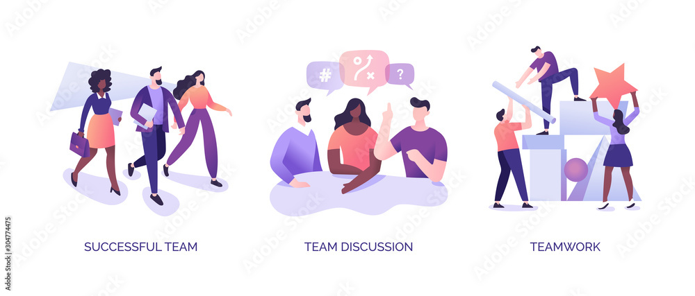Fototapeta Teamwork Illustrations Set