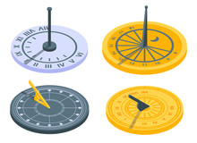 Sundial Icons Set. Isometric Set Of Sundial Vector Icons For Web Design Isolated On White Background