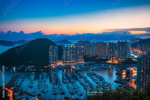 Aberdeen Typhoon Shelter, Hong Kong seen from Nam Long Shan, in Sunset time Canvas Print