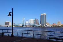 Clean And Beautiful Jacksonville Riverwalk, One And A Quarter Mile Paved Promenade Along The St. Johns River In Downtown Jacksonville, Florida, USA.