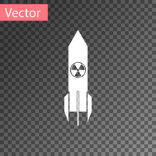 White Nuclear Rocket Icon Isol...
