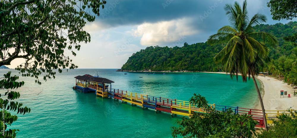 Fototapeta Perhentian Island Resort Beach, Besar, Perhentian Islands, Malaysia; a sunset view