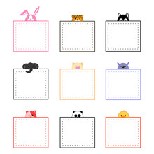 Collection Of Cute Animals Memo Note Design, Hand Drawn Cartoon Doodle Style.