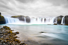 Godafoss Waterfall, Foggy From Waterspray On A Cloudy Morning, Iceland