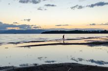Man Walks On Shore Near Lake S...