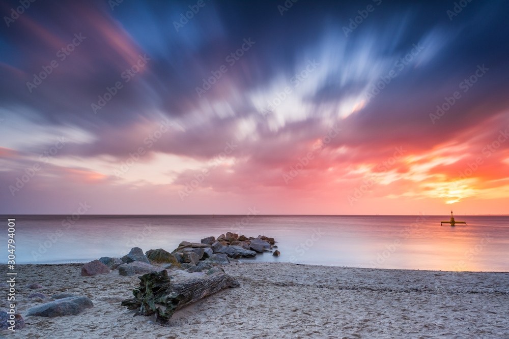Fototapety, obrazy: Baltic sea beach during sunrise in Gdynia. Baltic Sea. Poland