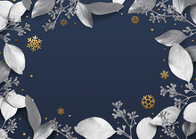 Christmas Holiday Background. Empty Place For Text In A Frame Of Silver Leaves And Snowflakes. Design Element For Christmas And New Year Cards, Banners. Top View. 3d Illustration.