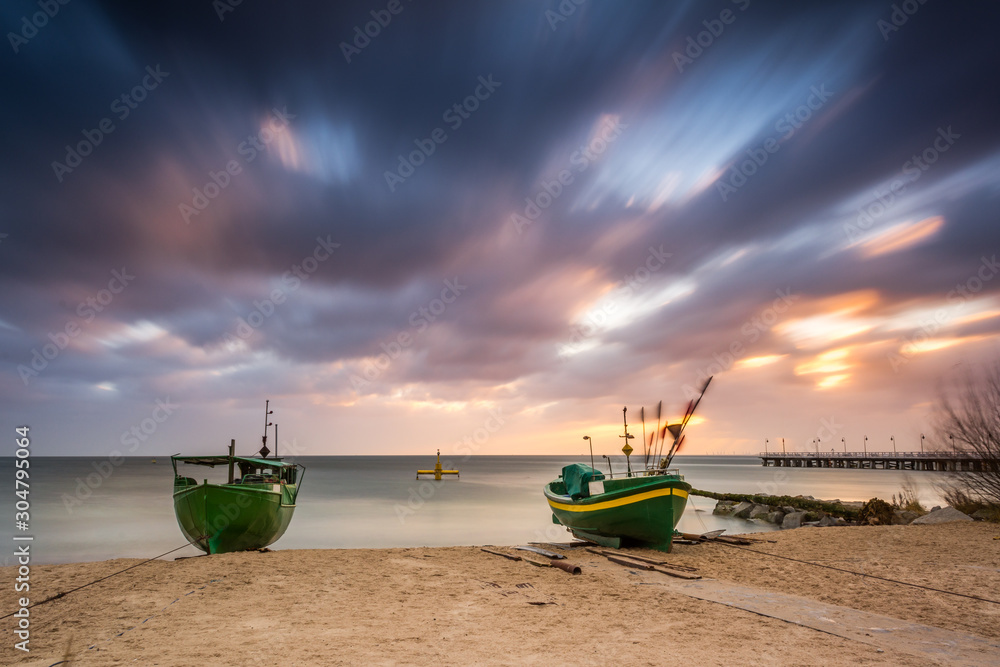 Fototapety, obrazy: Fishing boats on the beach during sunrise in Gdynia. Baltic Sea. Poland