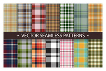 Plaid Pattern Seamless Ornate. Set Classic Vector Background. Fabric Texture Collection.