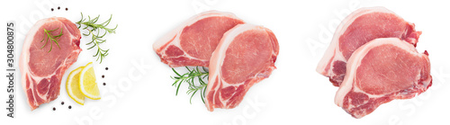sliced raw pork meat isolated on white background. Top view. Flat lay. Set or collection