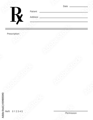 Fotografía Blank Rx form for medical treatment prescription and drugs list.