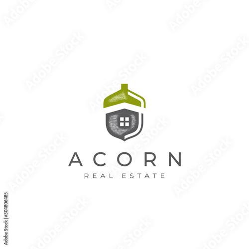 Acorn real estate logo, acorn home icon vector, oak home logo vector Wallpaper Mural