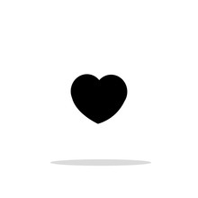 Vector Black Heart Love Icon On White Background