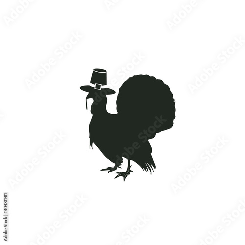 Fotografia, Obraz  Thanksgiving Turkey Wearing Pilgrim Hat Silhouette Isolated on Black White Backg