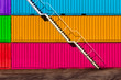 Leinwanddruck Bild - Steel white stair on rainbow container background. Industrial. LGBT. Pride
