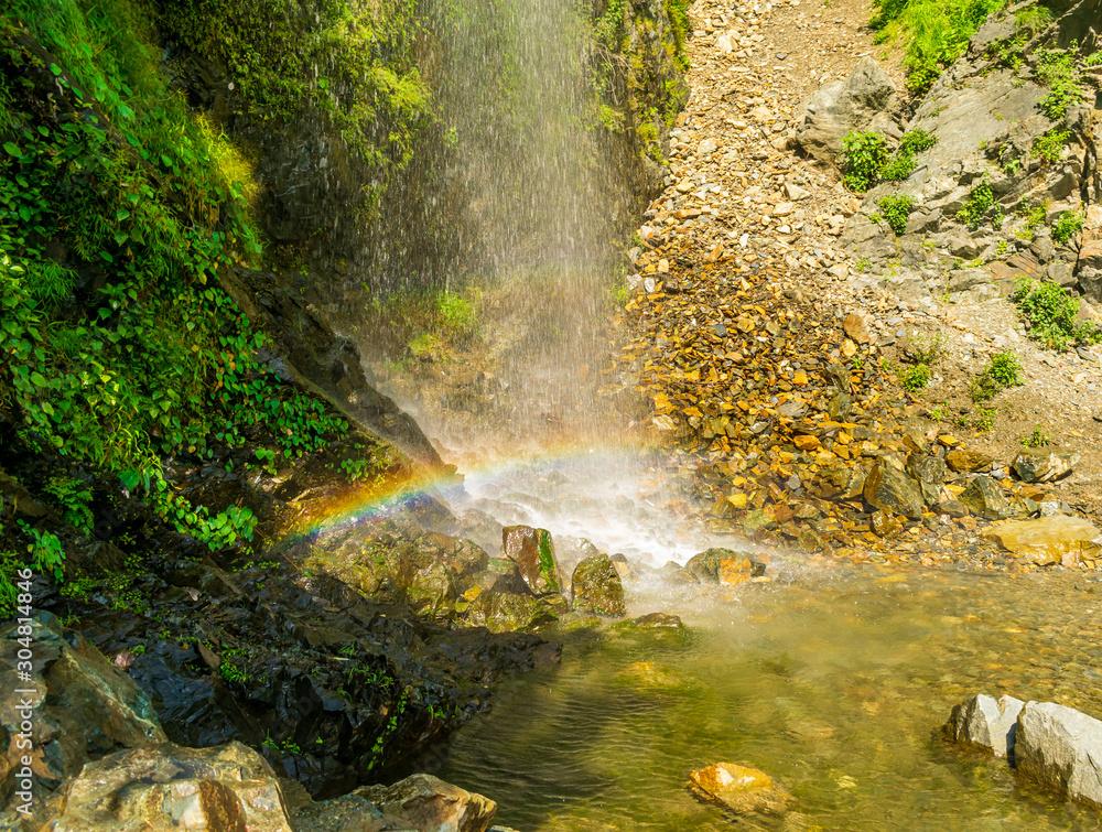 A perennial roadside waterfall and a rainbow, Mussoorie, Uttarakhand, India