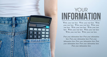 Woman Put In Pocket Calculator On Gray Light Background. Isolation, Space For Text