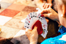 Senior Woman's Hands Playing C...