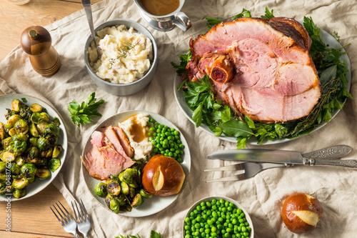 Fototapeta Homemade Glazed Holiday Ham Roast obraz