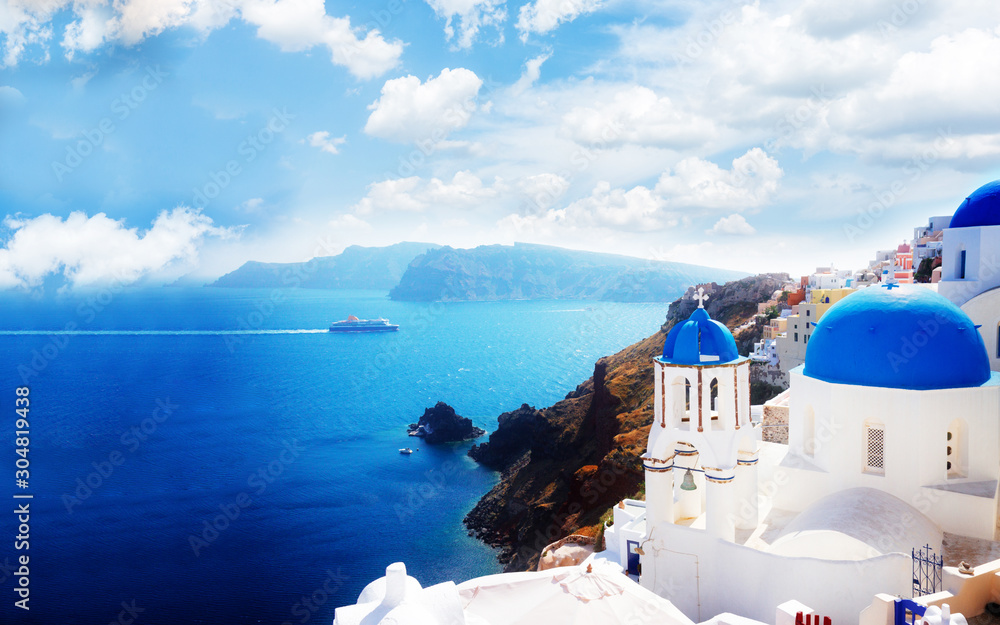 Fototapeta view of caldera with blue domes, Santorini