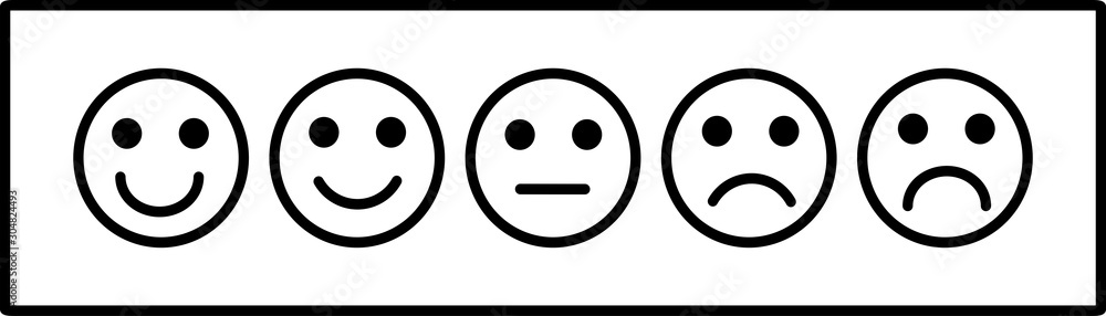 Fototapeta smiley face emoticons / emoji line art vector icons for apps and websites, Customer review, satisfaction, feedback, mood tracker