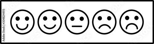 Photographie smiley face emoticons / emoji line art vector icons for apps and websites, Custo