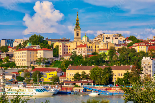 Belgrade, the capital of Serbia. View of the old historic city center on Sava river banks. Image