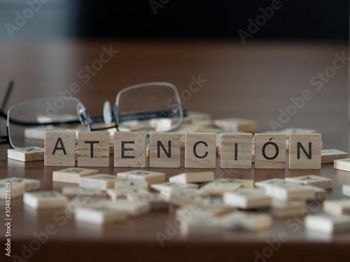 atención la palabra o concepto representado por baldosas de madera Wallpaper Mural
