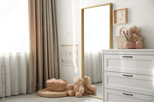 Fototapety, obrazy: Modern room interior with white chest of drawers