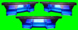 canvas print picture - Blue Sports News Desk 3 Angles Isolated on Chroma Key Green Screen Background