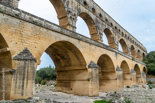 Pont du Gard is the tallest aqueduct and bridge Canvas Print